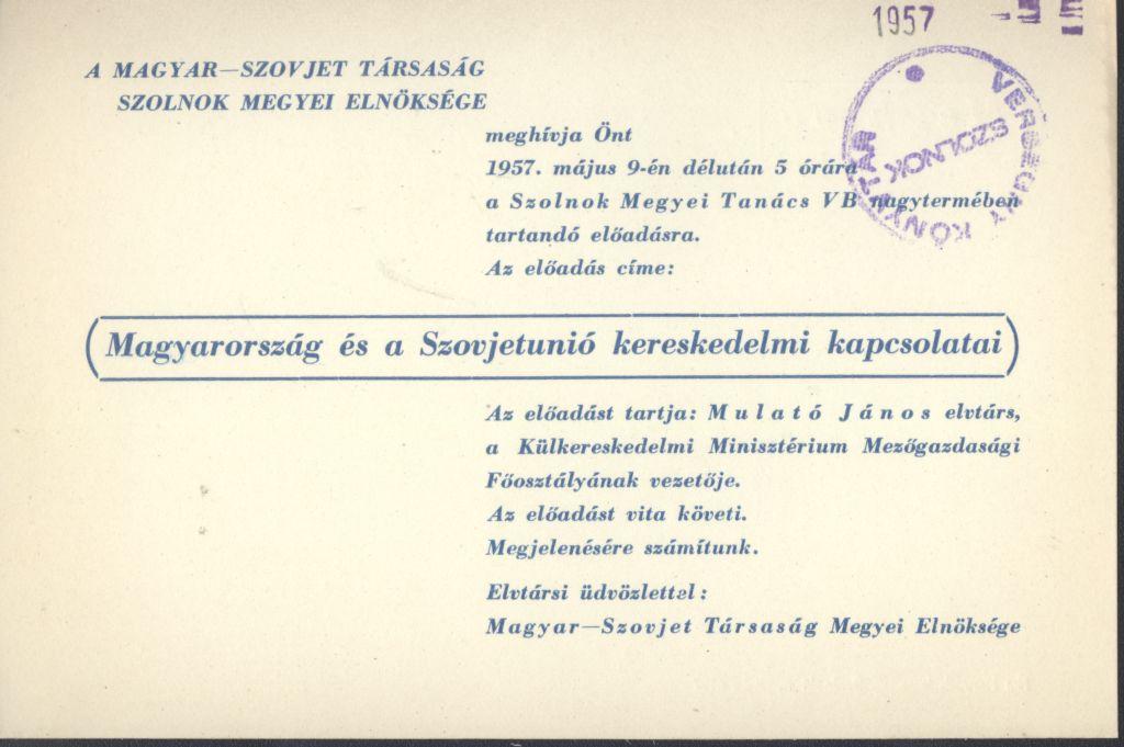 Előadás Magyarország és Szovjetunió kereskedelmi kapcsolatairól
