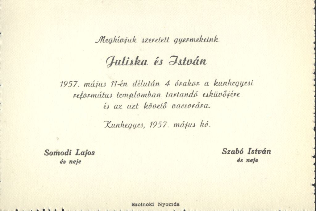 Somodi Juliska és Szabó István esküvői meghívója