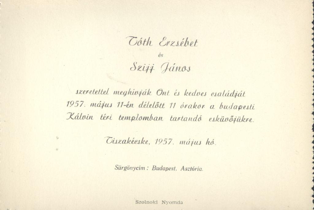 Tóth Erzsébet és Szijj János esküvői meghívója