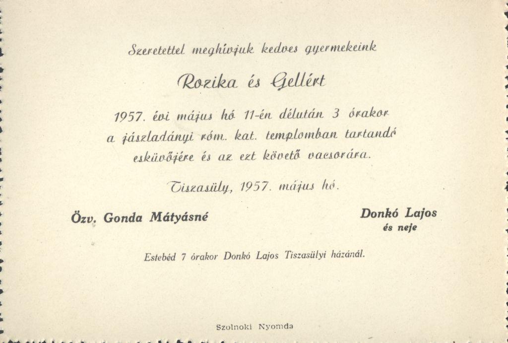 Rozika és Gellért esküvői meghívója