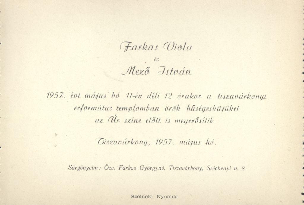 Farkas Viola és Mező István esküvői meghívója
