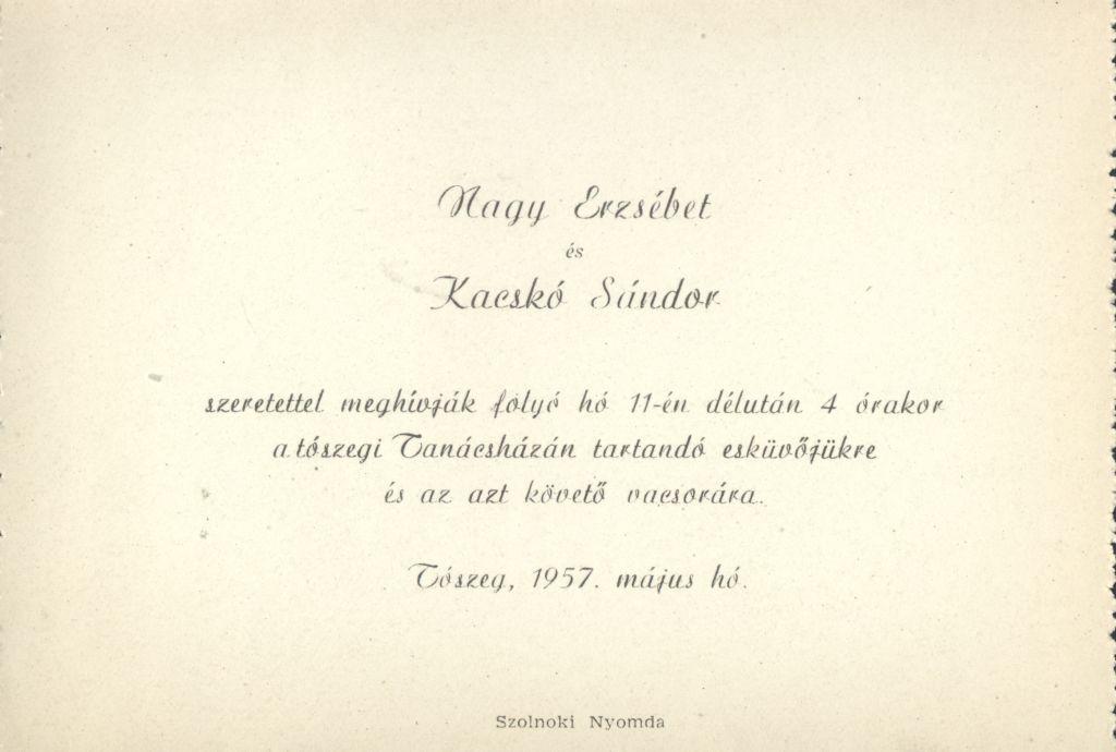 Nagy Erzsébet és Kacskó Sándor esküvői meghívója
