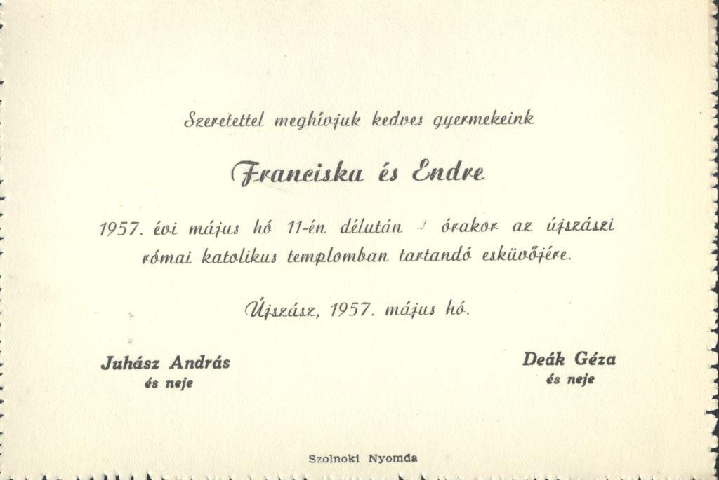 Franciska és Endre esküvői meghívója