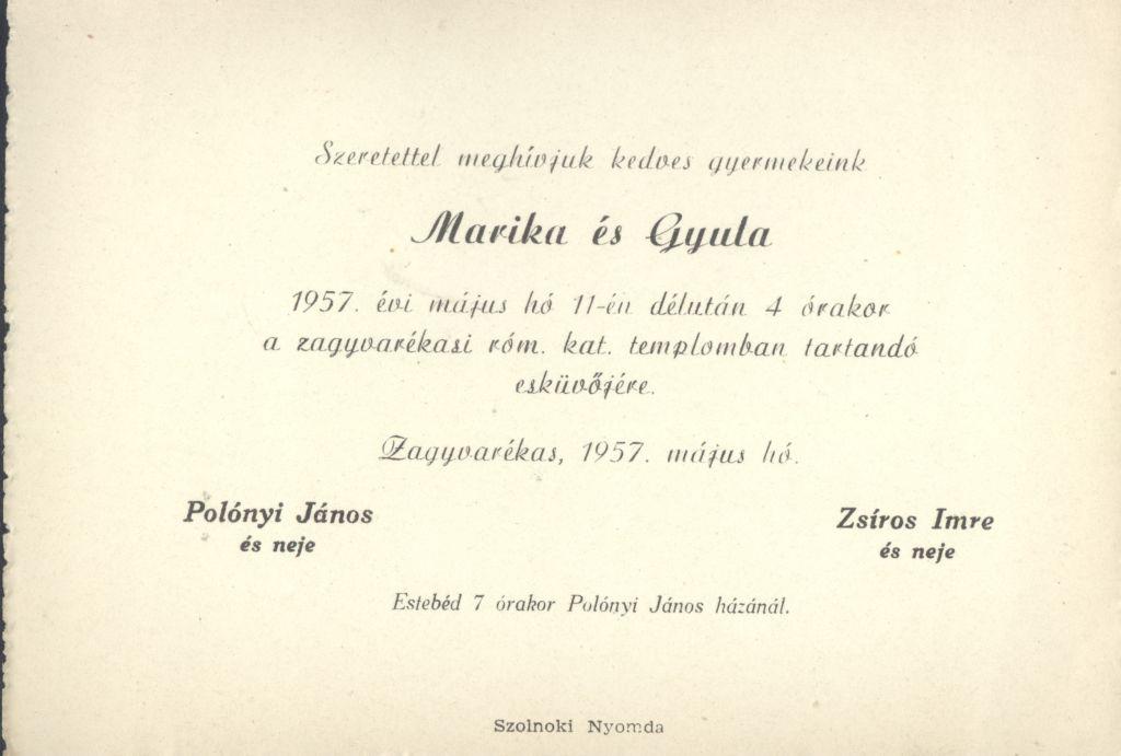 Marika és Gyula esküvői meghívója