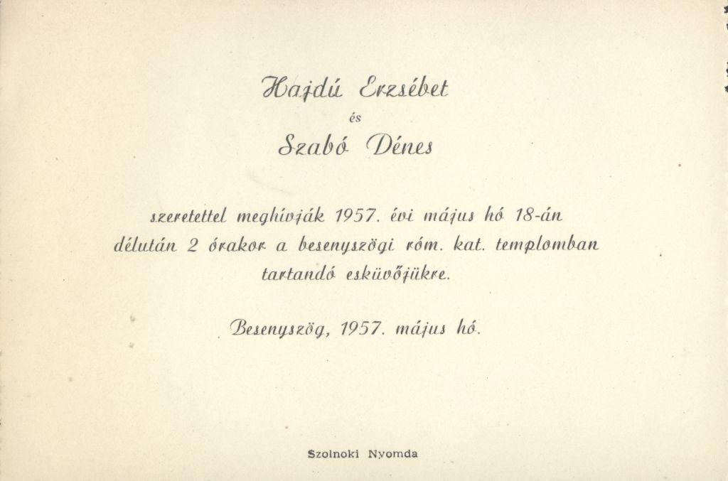 Hajdú Erzsébet és Szabó Dénes esküvői meghívója
