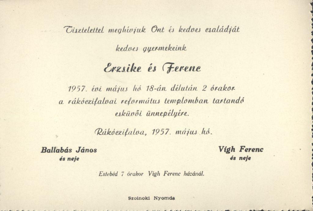 Erzsike és Ferenc esküvői meghívója