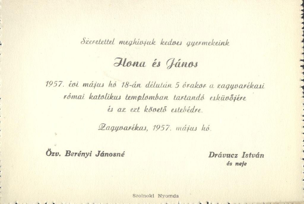 Ilona és János esküvői meghívója