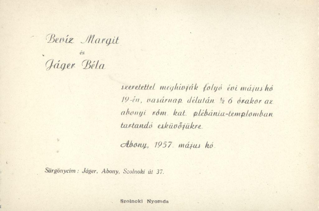 Bevíz Margit és Jáger Béla esküvői meghívója