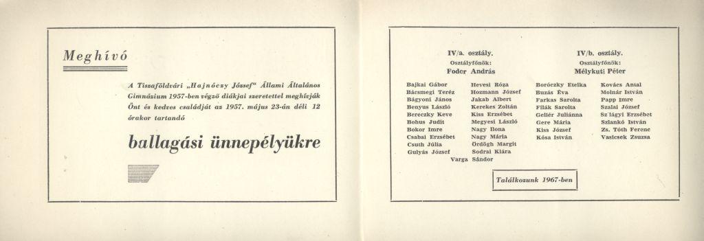 """A tiszafüredi """"Hajnóczy József"""" Állami Általános Gimnázium ballagási meghívója"""