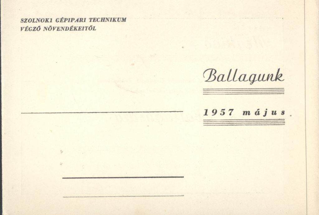 Szolnoki Gépipari Technikum ballagási meghívója
