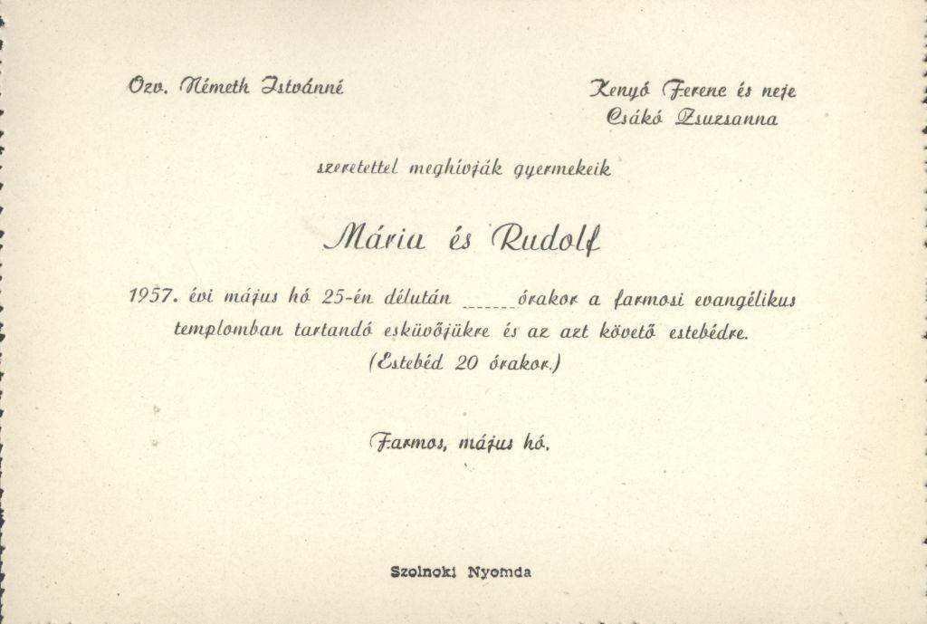 Mária és Rudolf esküvői meghívója