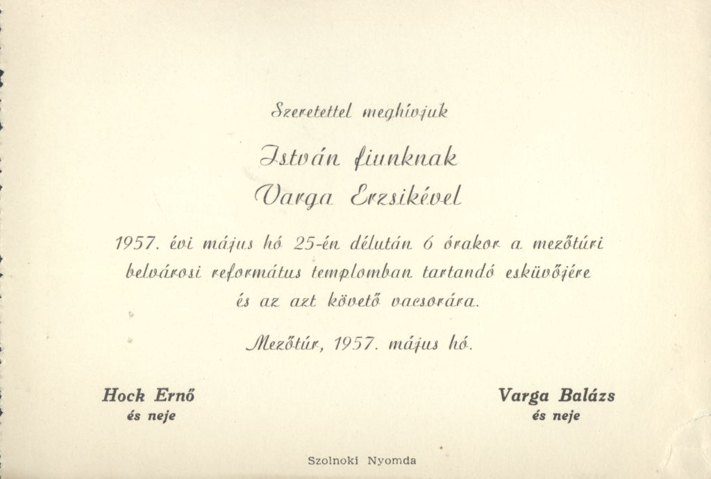 Hock István és Varga Erzsébet esküvői meghívója