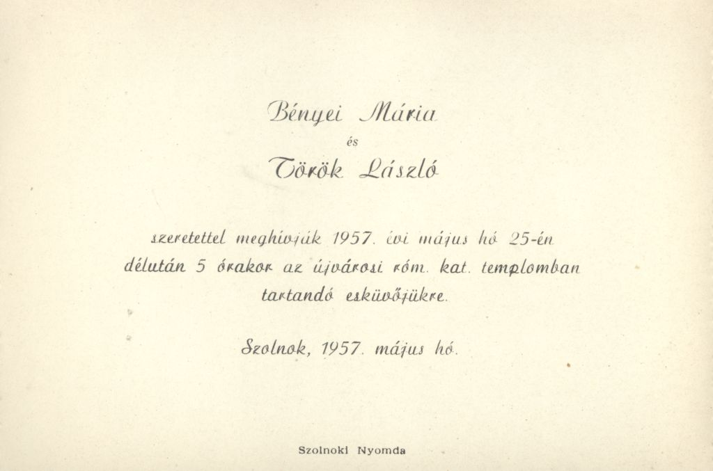 Bényei Mária és Török László esküvői meghívója