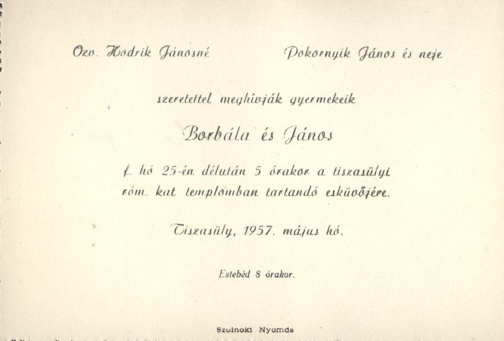 Hodrik Borbála és Pokornyik János esküvői meghívója