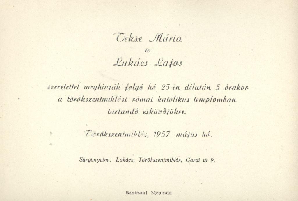 Tekse Mária és Lukács Lajos esküvői meghívója