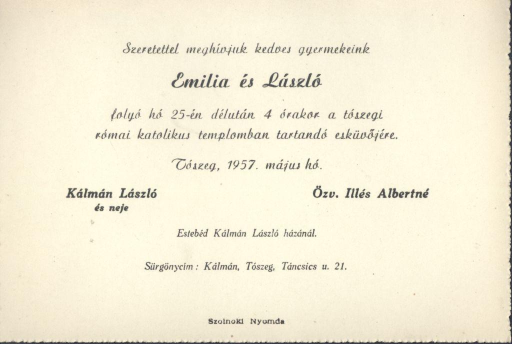 Emilia és László esküvői meghívója