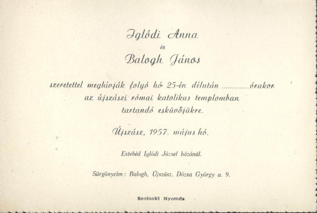 Iglódi Anna és Balogh János esküvői meghívója