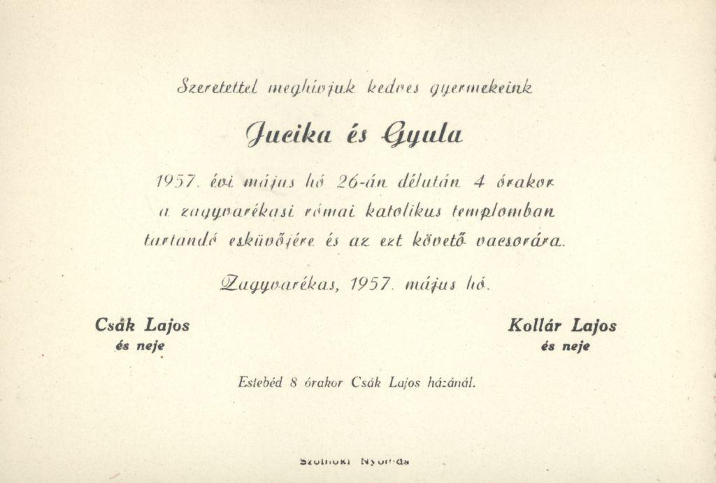 Jucika és Gyula esküvői meghívója
