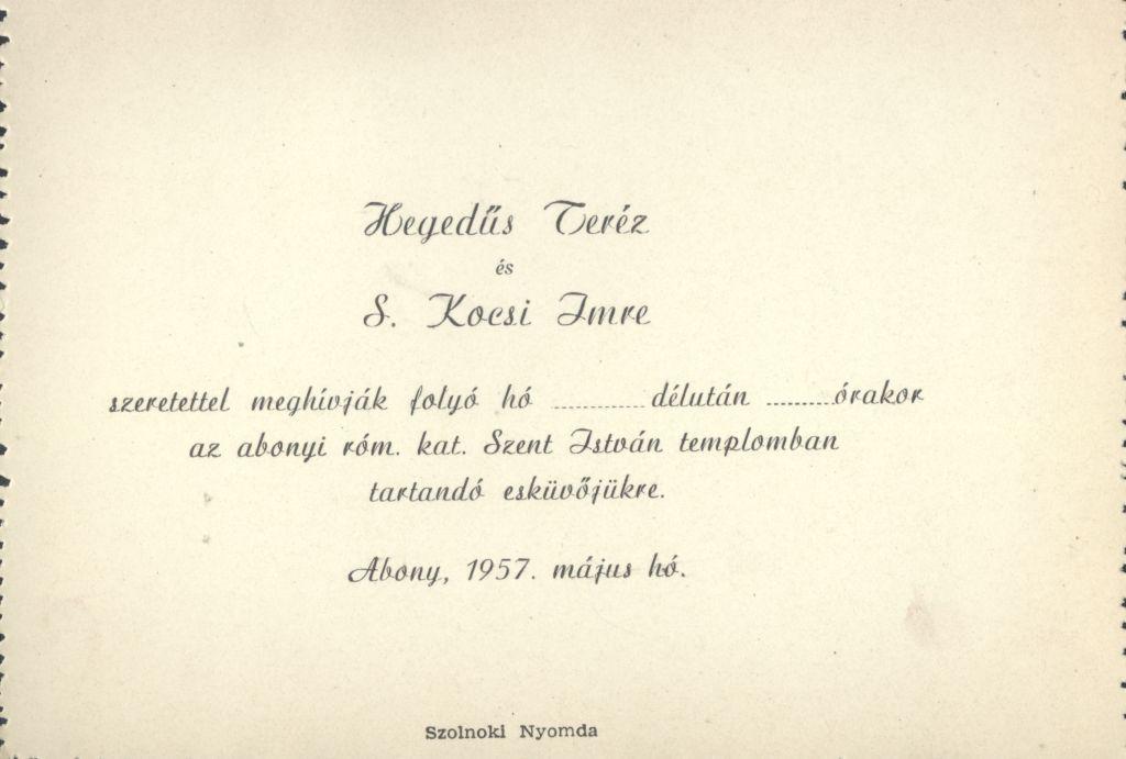 Hegedűs Teréz és S. Kocsis Imre esküvői meghívója