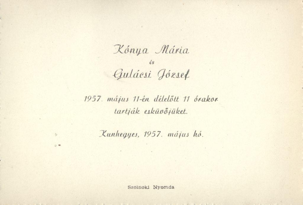 Kónya Mária és Gulácsi József esküvői meghívója