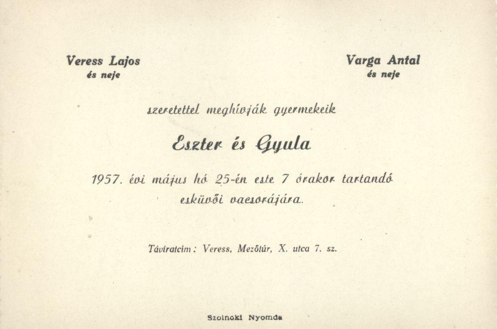 Eszter és Gyula esküvői meghívója