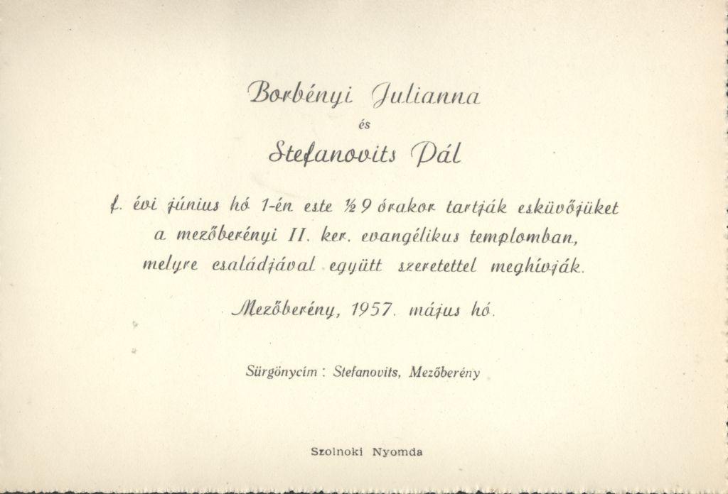 Borbényi Julianna és Stefanovits Pál esküvői meghívója