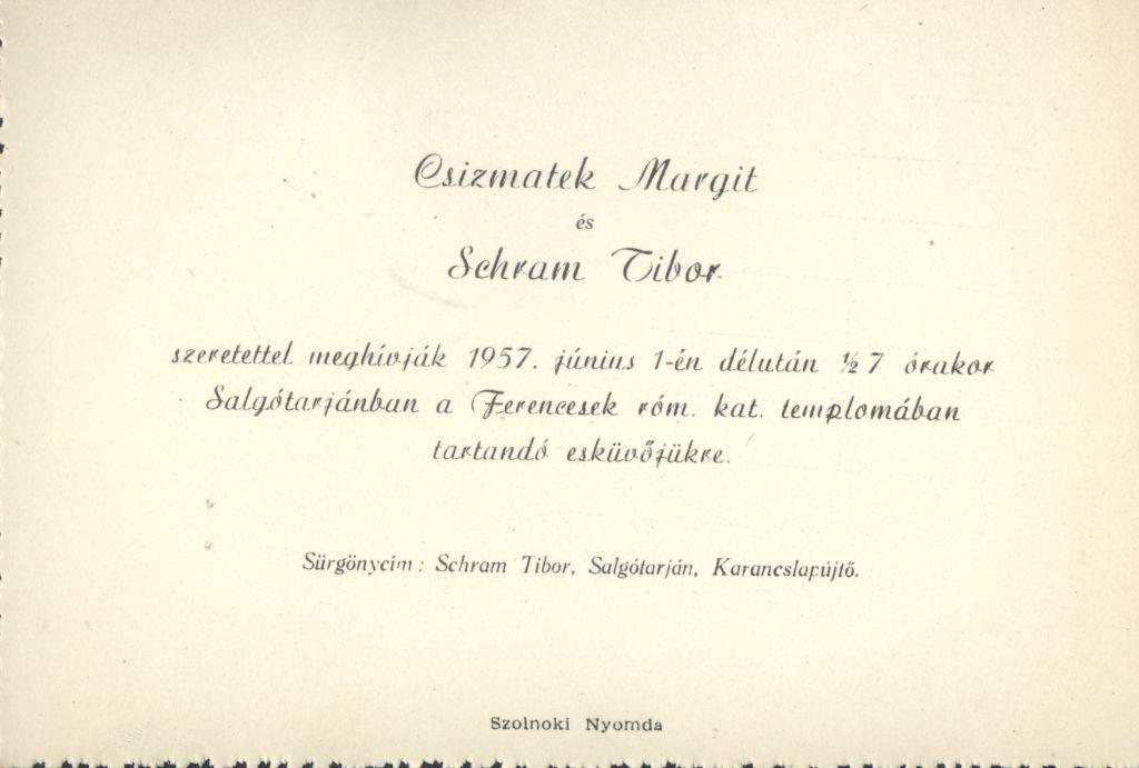 Csizmatek Margit és Schram Tibor esküvői meghívója