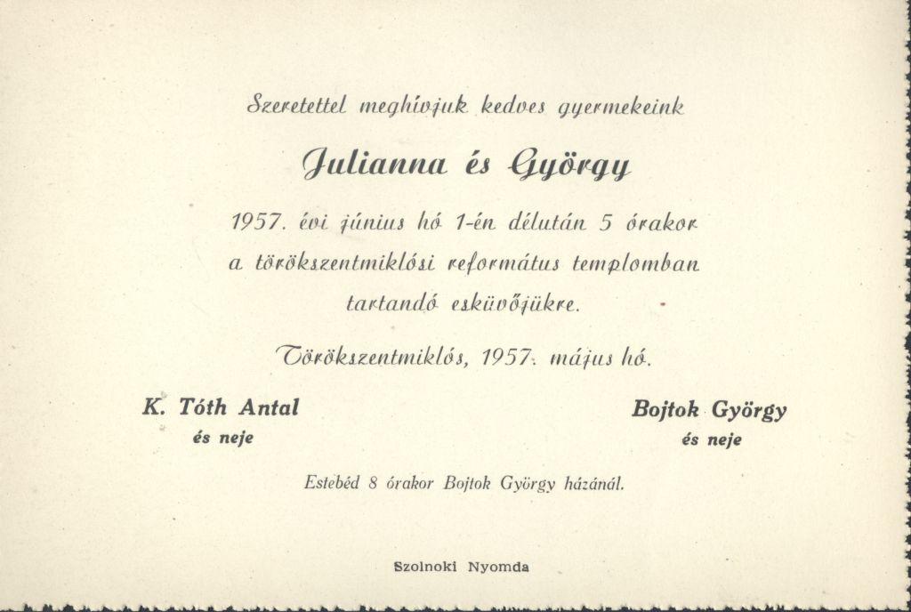 K. Tóth Julianna és Bojtok György esküvői meghívója