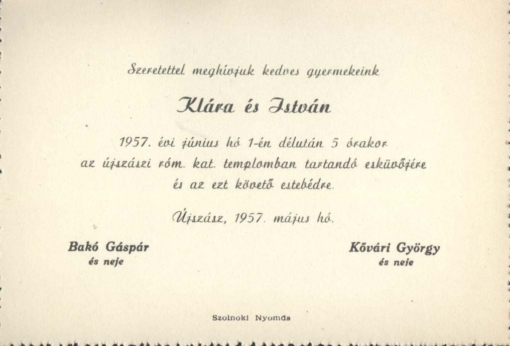 Klára és István esküvői meghívója