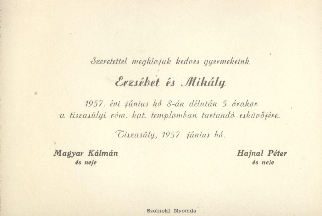 Erzsébet és Mihály esküvői meghívója