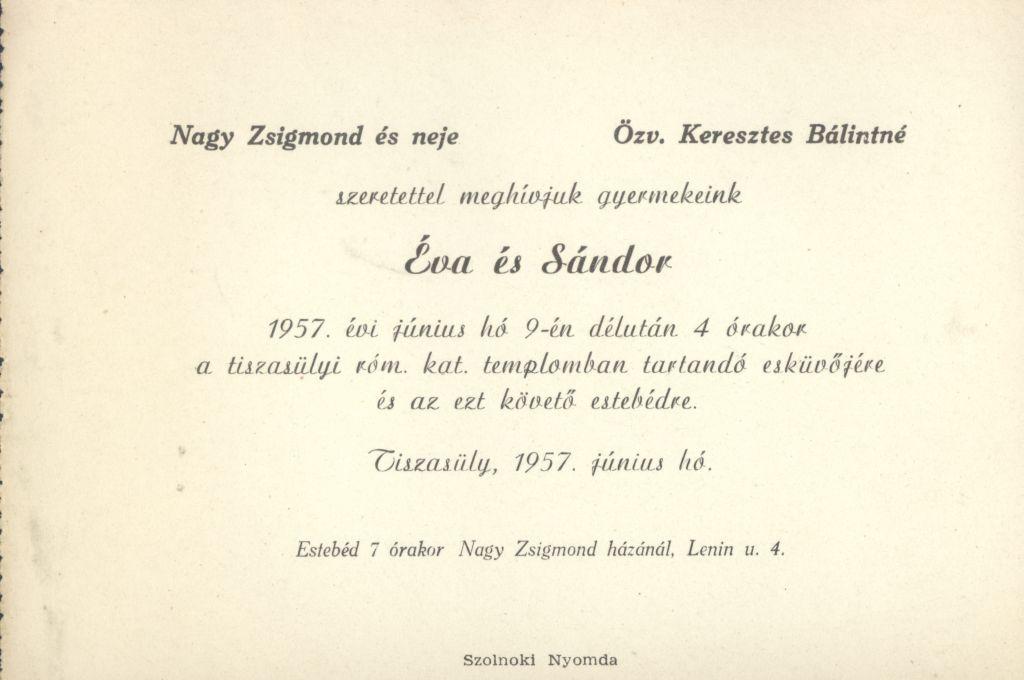 Éva és Sándor esküvői meghívója