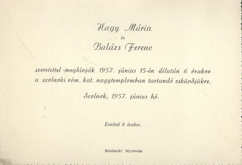 Nagy Mária és Balázs Ferenc esküvői meghívója