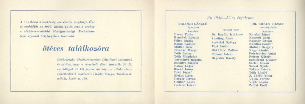 Meghívó a törökszentmiklósi Móricz Zsigmond Gimnázium 1952-ben végzett tanulóinak ötéves találkozójára