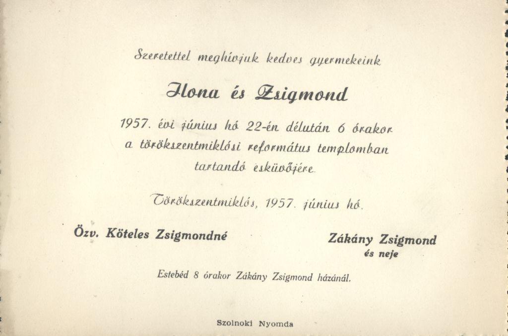 Köteles Ilona és Zákány Zsigmond esküvői meghívója