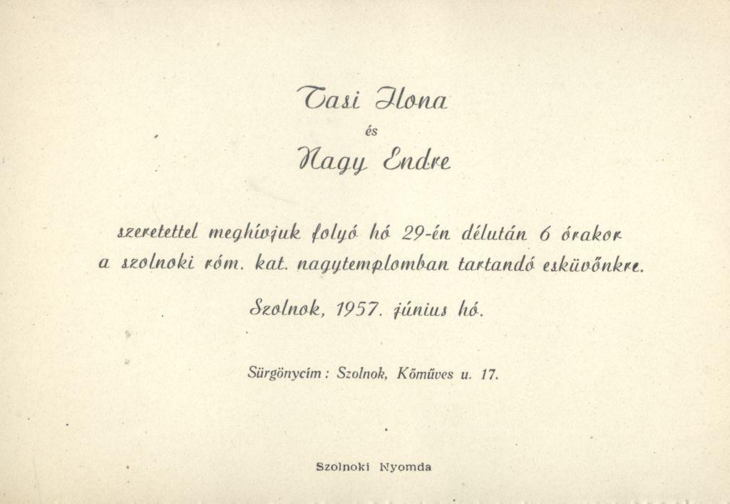 Tasi Ilona és Nagy Endre esküvői meghívója