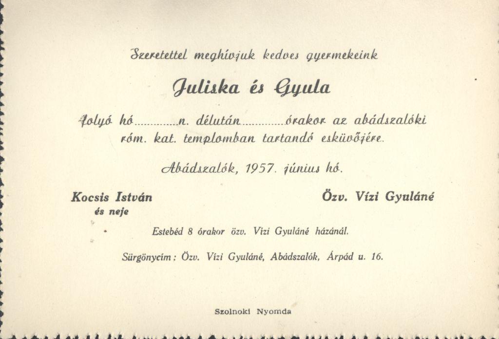 Kocsis Juliska és Vízi Gyula esküvői meghívója