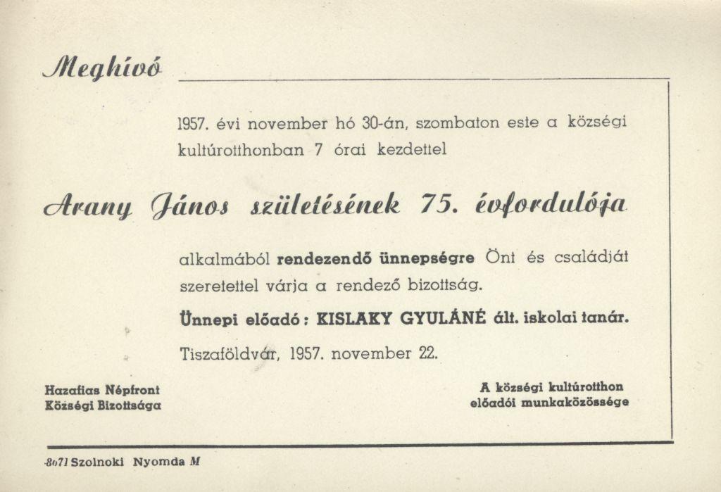 Meghívó Arany János születésének 75. évfordulója alkalmából rendezett ünnepségre