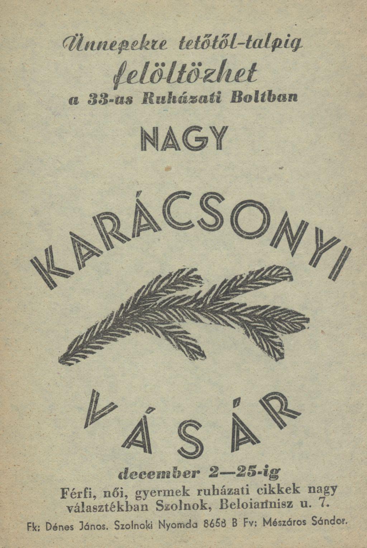Karácsonyi Vásár 1957. december 2-25. között Szolnokon