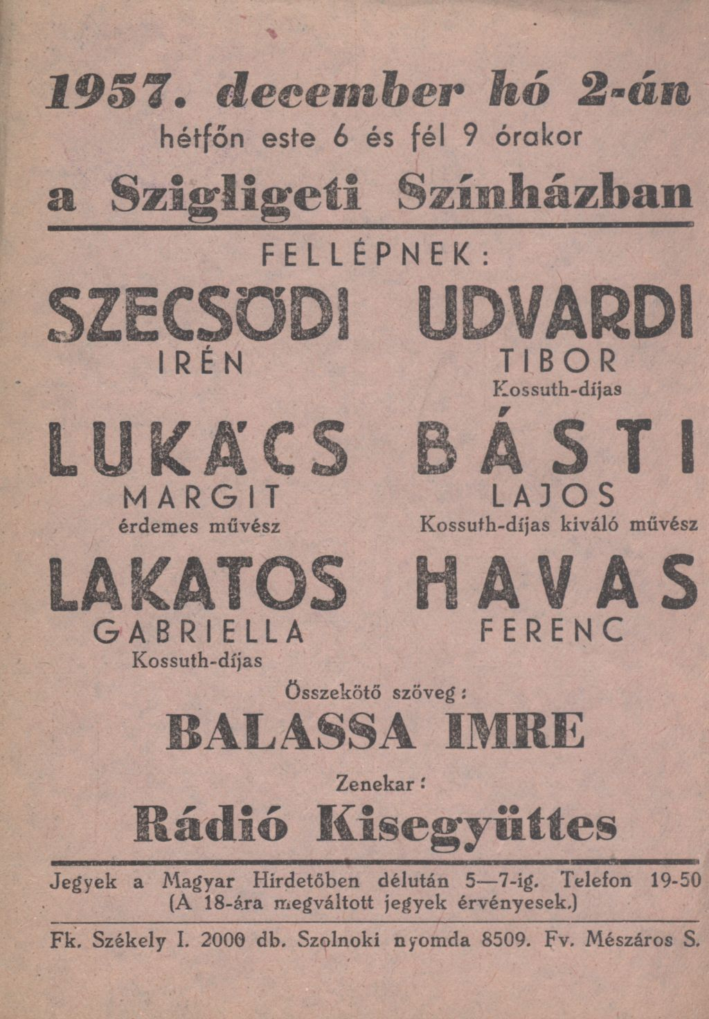 Szigligeti Színház szórólapja