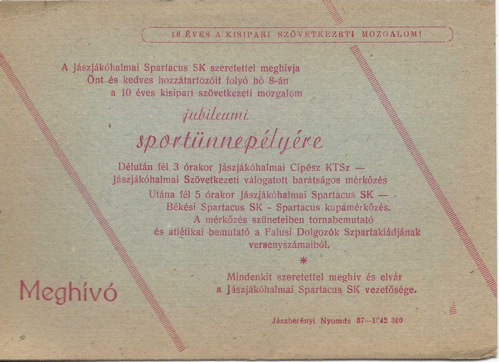 Meghívó jubileumi sportünnepélyre