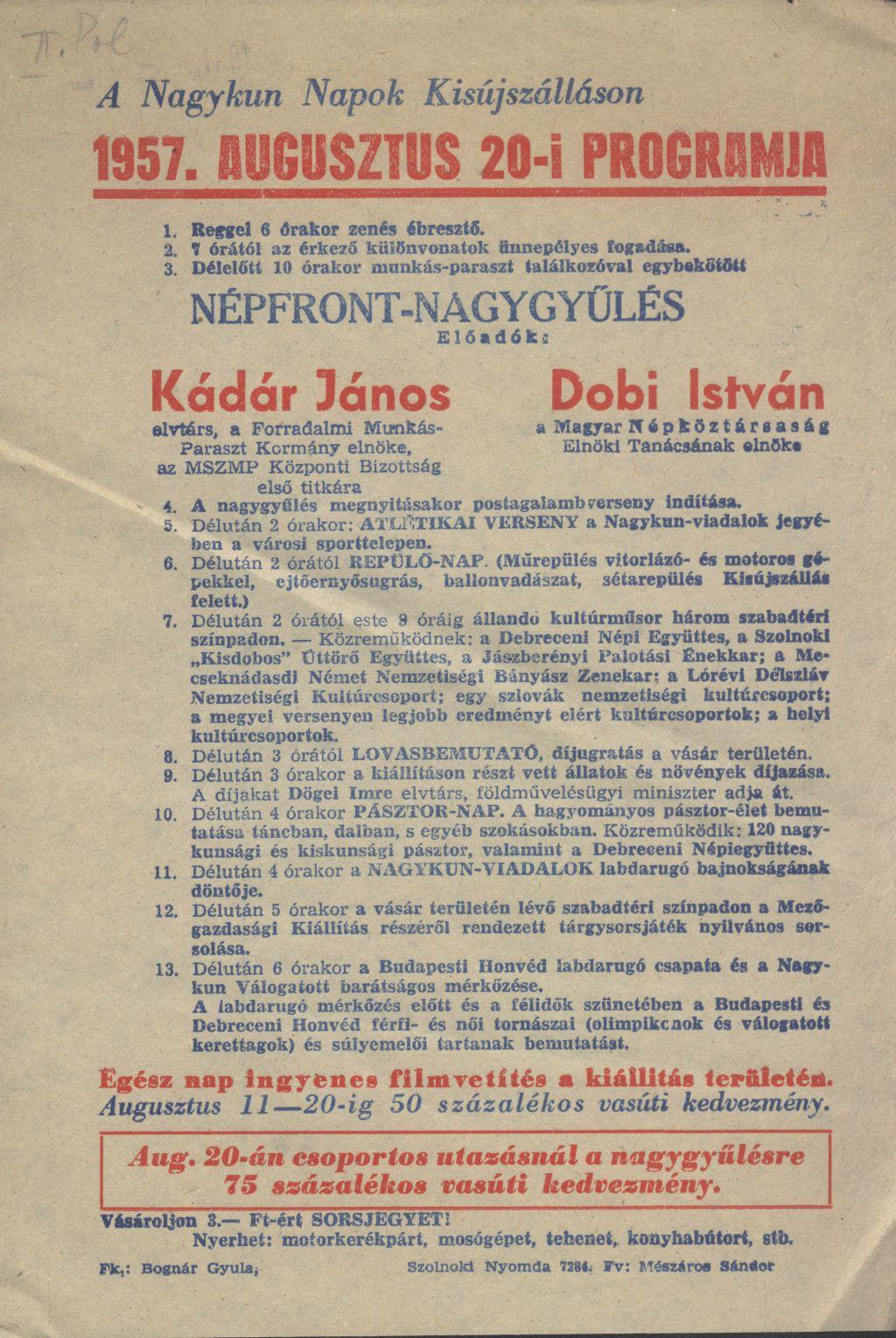 A Nagykun Napok Kisújszálláson 1957. augusztus 20-i programja