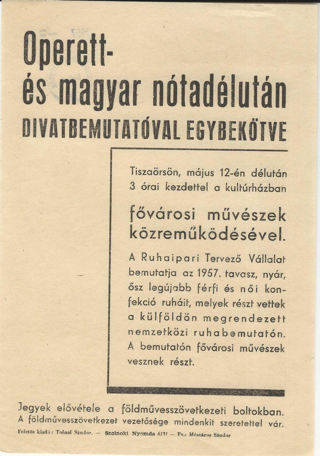 Operett- és magyar nóta délután