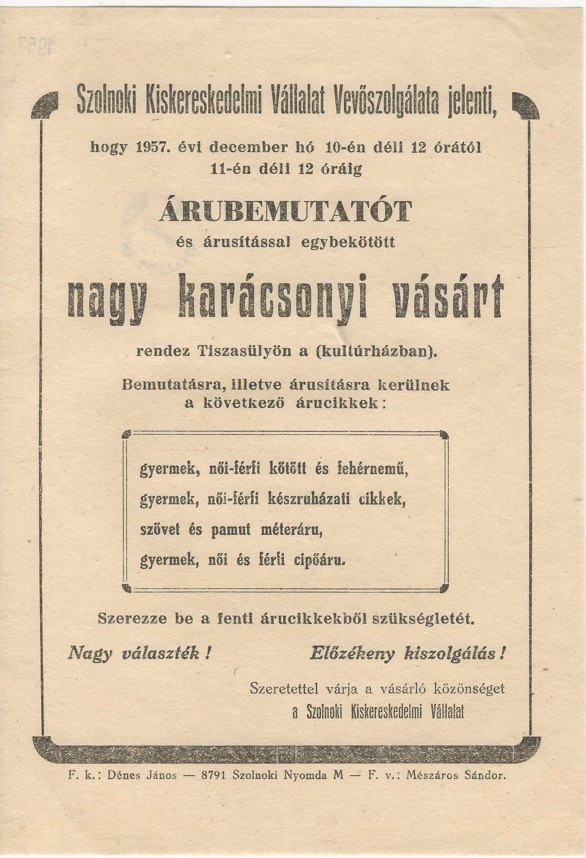Karácsonyi vásár- és árubemutató 1957. december 10-11. között