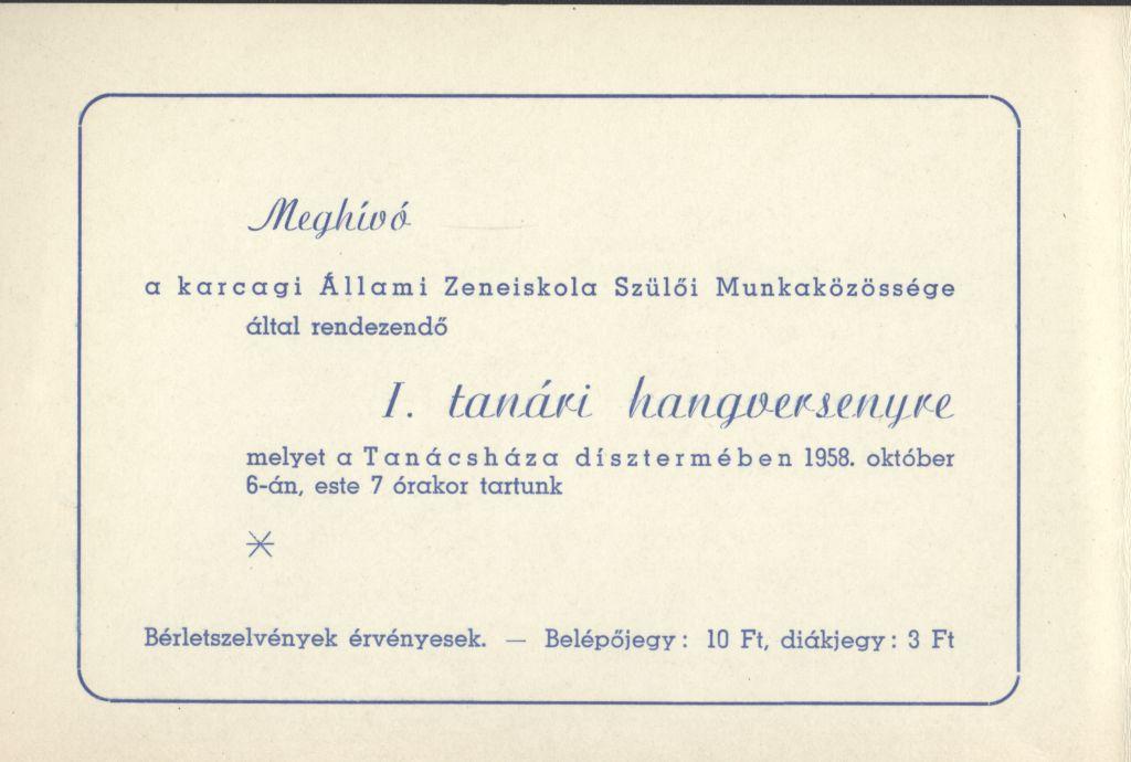Meghívó a karcagi Állami Zeneiskola Szülői Munkaközössége által rendezendő I. tanári hangversenyre