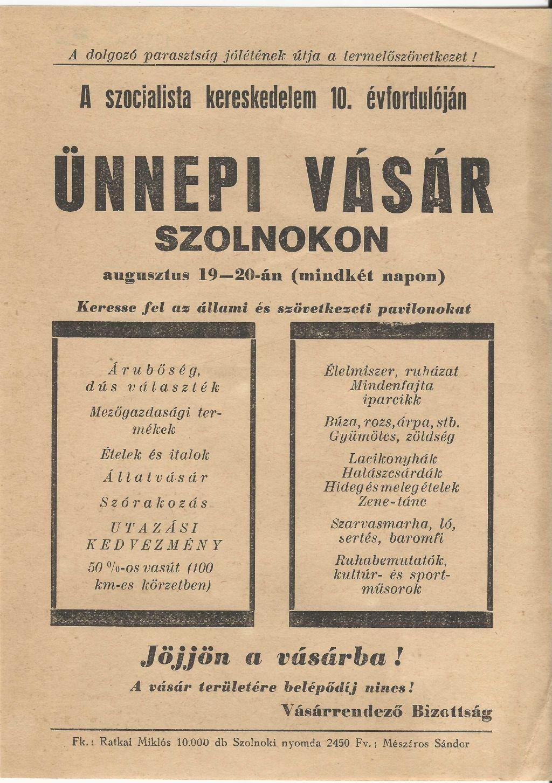 A szocialista kereskedelem 10. évfordulóján Ünnepi Vásár Szolnokon 1958. augusztus 19-20. között