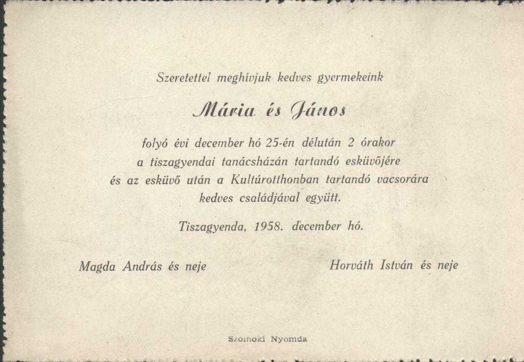 Mária és János esküvői meghívója