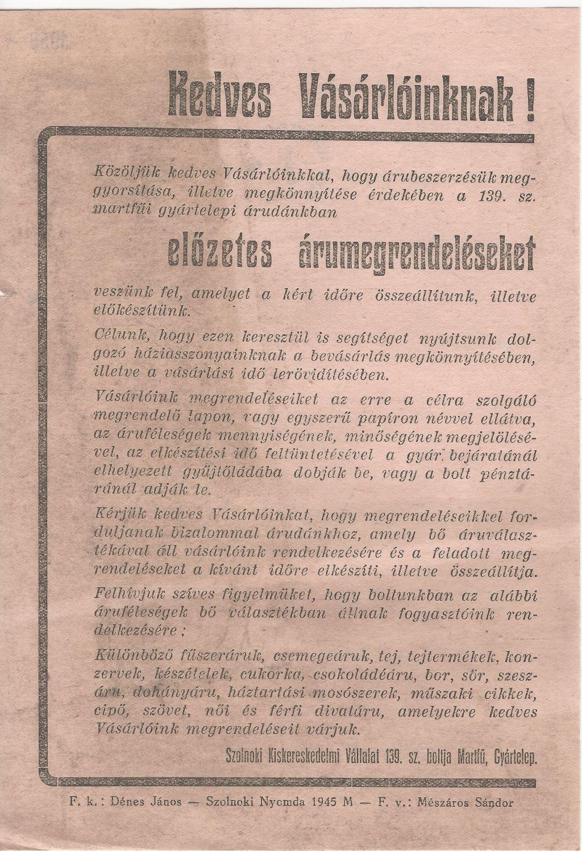 Szolnoki Kiskereskedelmi Vállalat 139. sz. boltja Martfűn (Gyártelep) szórólapja, mely szerint előzetes árumegrendelést felvesznek