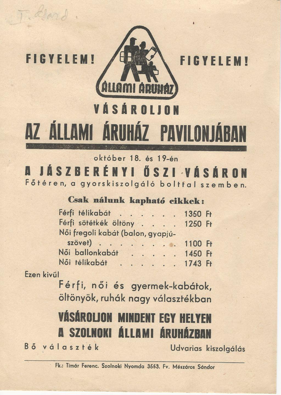 Jászberényi őszi vásár 1958. október 18-19. között