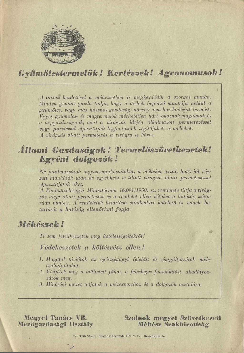 Szolnok megyei szövetkezeti Méhész Szakbizottság és a megyei Tanács VB Mezőgazdasági Osztályának tájékoztatója
