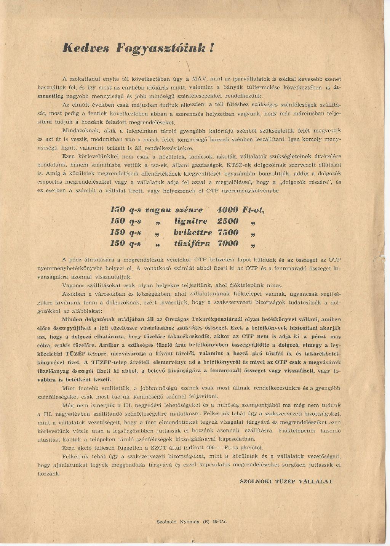 Szolnoki TÜZÉP Vállalat tájékoztatója